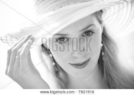 Young Woman In Hat Portrait
