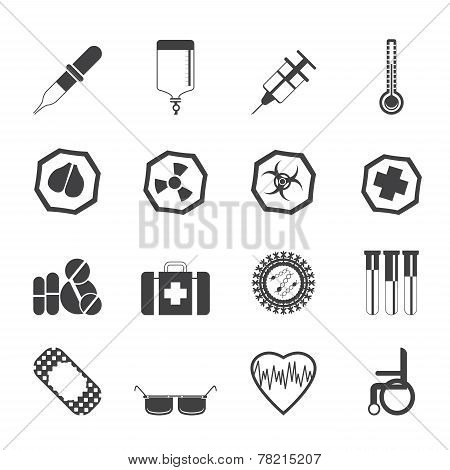 Silhouette Simple  medical themed icons and warning-signs