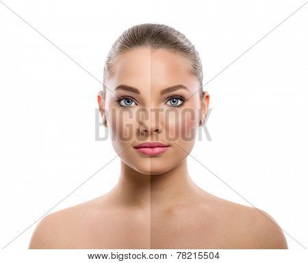 beautiful young woman on a white background, beauty concept, tan before and after, face divided in two parts, tanned and natural
