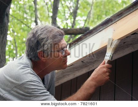 House Painter Brushing On Paint