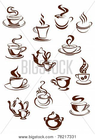 Fragrant coffee in retro style icon set