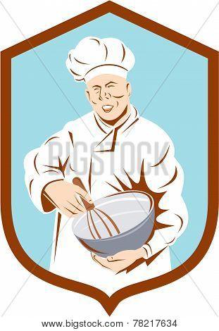 Baker Chef Cook Mixing Bowl Shield Retro
