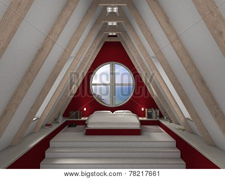 cozy bedroom beneath the roof