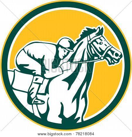 Jockey Horse Racing Circle Retro