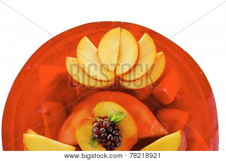 image of cold red jelly pie with nectarine and peach