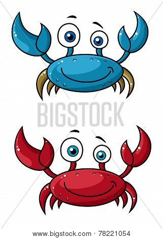 Crab funny cartoon character