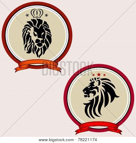 Retro badge with lion
