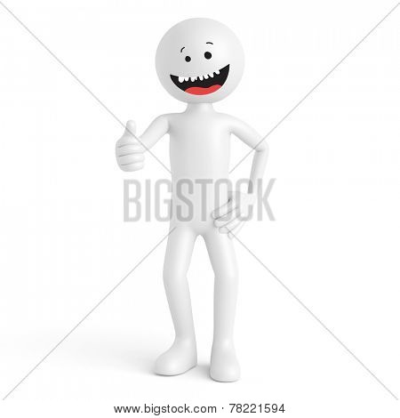 Happy 3d human guy with grimace holding his thumbs up (3D Rendering)