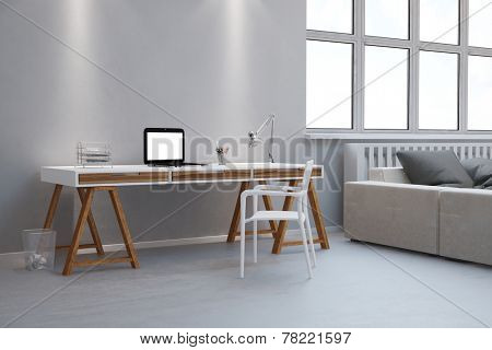 Small desk as home office with laptop computer in a living room (3D Rendering)