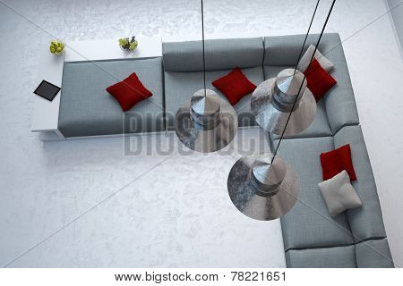 Top view through ceiling lamps in living room on a sofa (3D Rendering)