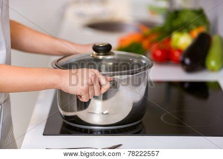 Female hands holding saucepan, cooking