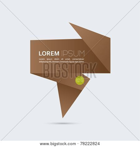 Abstract background with origami brown speech bubble