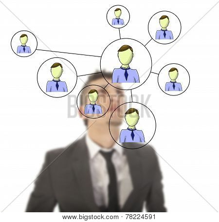 Businessman With Online Friends Network Isolated On White Background