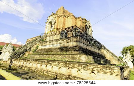 Giant Ancient Pagoga Of Thai Buddhist Temple