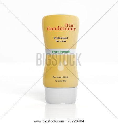 3D Hair Conditioner plastic bottle isolated on white background