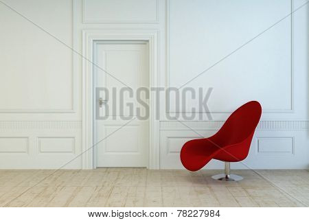 Single red modular chair in an empty room with white wood paneling and a closed door over a plain wooden parquet floor, architectural interior background. 3D Rendering.