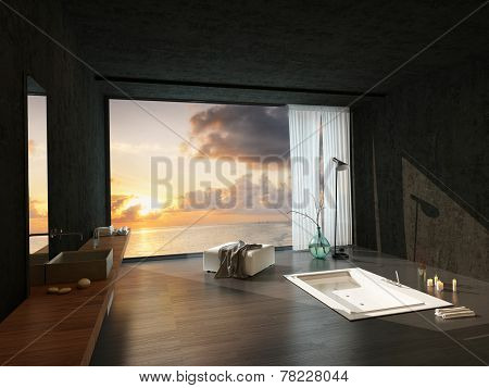 Sunken bathtub in a modern luxury bathroom with a colorful sunset visible through the large window. 3D Rendering.