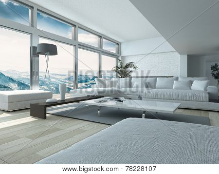 Modern Living Room Design, with Elegant White Couches and Table, Inside Architectural House with Glass Windows Style. 3D Rendering.