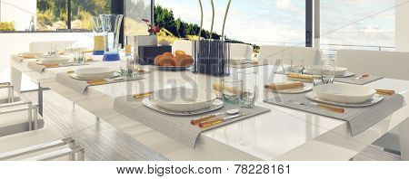 Classy Table Setting at the Dining Area, Emphasizing White Table and Chairs. 3D Rendering.