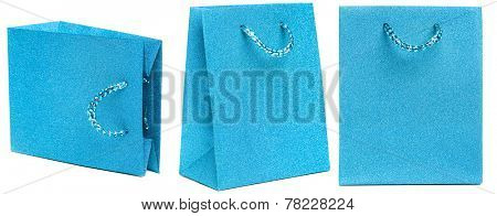 blue gift bag isolated on white background