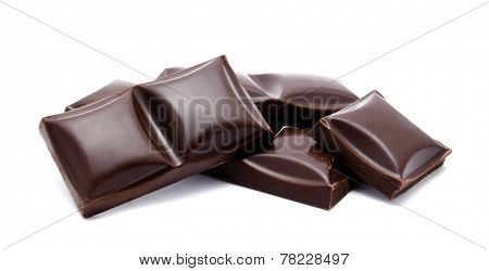 Dark chocolate bars stack isolated