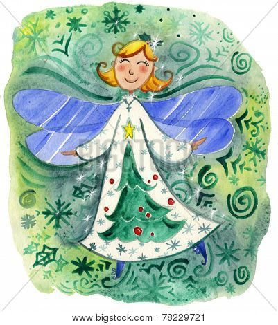 Cute Christmas angel watercolor