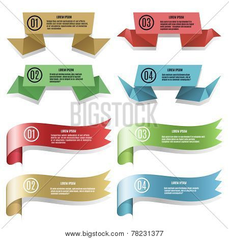 Modern ribbons and banners
