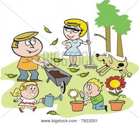 Family garden cartoon