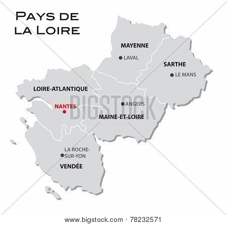 Simple Administrative Map Of Pays De La Loire