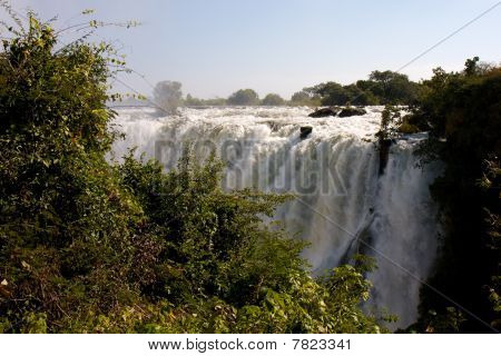 Victoria Falls With Bushes