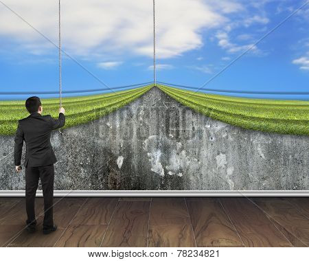 Businessman Pulling Open Sky Curtain Covered Old Mottled Concrete Wall