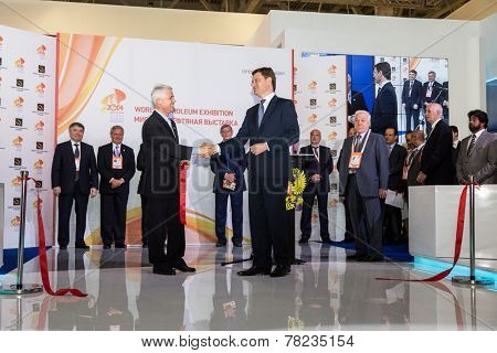 MOSCOW, RUSSIA, JUNE, 16: Renato Bertani, President of the World Petroleum Council and Alexander Novak, Russian Energy Minister. 21st WPC, June, 16, 2014 at Crocus Expo  in Moscow, Russia