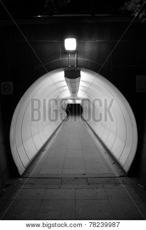 Empty underpass tunnel in Singapore