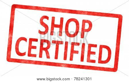 An image of a stamp with the text shop certified