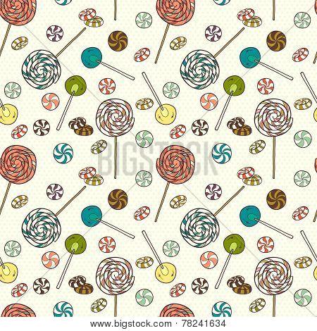 Doodle Lollipops Pattern.