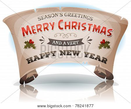 Happy New Year And Merry Christmas On Parchment Scroll