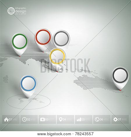 World map with pointer marks. Infographic for business design and website template