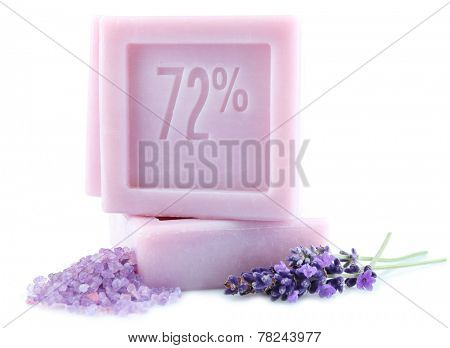 Bars of natural soap with fresh lavender and sea salt  isolated on white