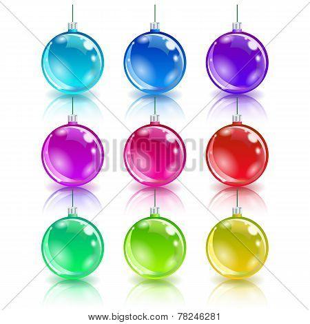 Color christmas balls set.