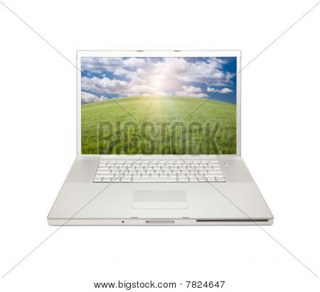 Silver Computer Laptop Isolated