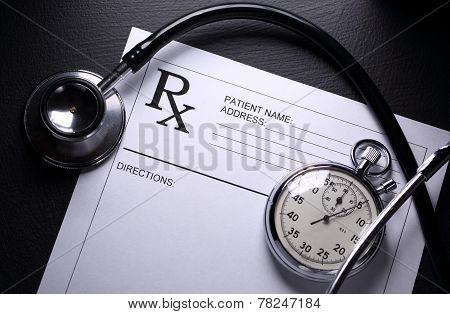 Stethoscope, Stopwatch And Patient List