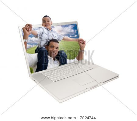 Happy Hispanic Father And Son In Laptop Screen