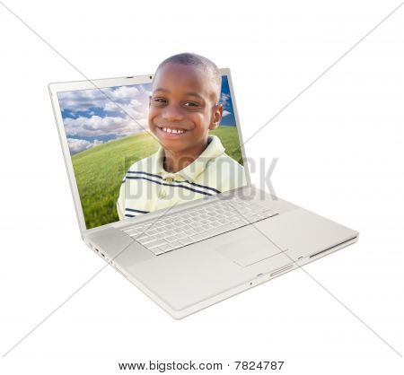 Happy African American Boy In Laptop