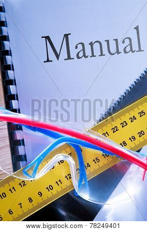 Ruler, Manual, Handsaw And Goggles