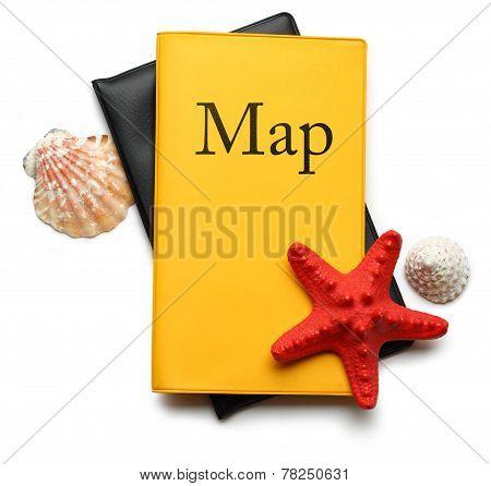 Seastar And Seashells On Map