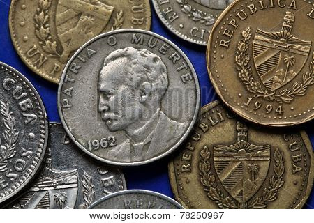 Coins of Cuba. Cuban national hero Jose Marti depicted in the Cuban peso coin.