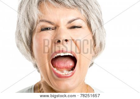 Portrait of a elderly woman with a yelling expression