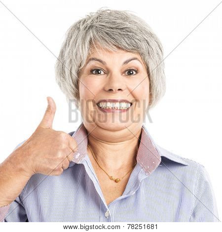 Portrait of a elderly woman with thumbs up