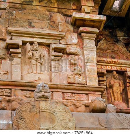 Detail Of Wall Great Architecture Ancient Gangaikonda Cholapuram Temple, India, Tamil Nadu, Thanjavu
