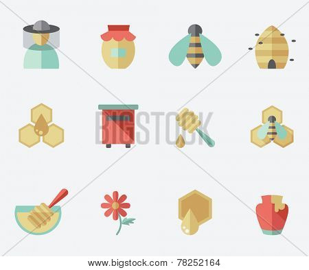 Honey and beekeeping icons, flat design